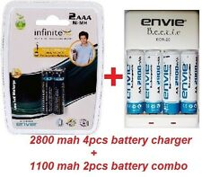 Envie 2800mAh AA (4nos) + 1100mah AAA (2nos) Ni-MH Rechargeable Battery + chrgr