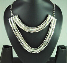 RF1 Statement Silver Plated Chain Necklace Pendant Jewelry