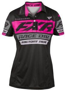 FXR Race Division Polo Womens Short Sleeve T-Shirt Black/Fuchsia