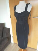 Ladies STAR JULIEN MCDONALD Dress Size 8 Black Wiggle Pencil Party Evening