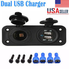 Dual USB Port Car Cigarette Lighter Socket & 12V Charger Power Adapter Outlet RF
