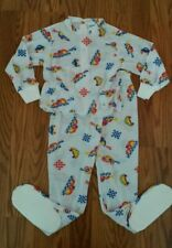New Nos Vintage Carter's Boys 2 piece footed pajama set long sleeve top pants 3T