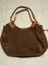 Lucky Brand Brown Suede Shoulder Handbag Purse w/ leather straps