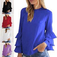 Women Stylish Summer Chiffon Long Sleeve Casual Loose Blouse Tops T-Shirt S-5XL