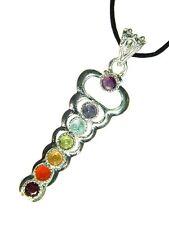 BUTW  Silver Caduceus 7 Chakra  Faceted Gemstone Accents Pendant Necklace 3382D