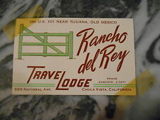 Vista business cards ebay old vintage business card rancho del rey travelodge chula vista california adver reheart Choice Image
