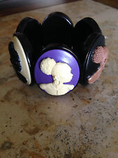 GORGEOUS AFRICAN AMERICAN BLACK LADY MULTI COLOR CAMEO BRACELET!