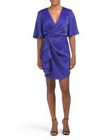 White Closet Womens Blue Ruffle Dress NWT Faux Wrap Satin-like Party Dressy - M