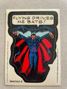 1974 1975 TOPPS MARVEL SUPER HEROES STICKERS - DRACULA-2 - FLYING DRIVES ME BATS