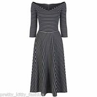 Black White Stripe Vintage 3/4 Sleeve Rockabilly Swing Cocktail Prom Dress 8-18