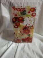 "Fringe Studio Culver City CA Floral Tiffany Kimono Vase Rectangular Tall 11 3/4"""