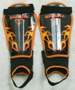 Vizari Soccer Shin Guards Black & Orange Size Medium Flame Graphic Adult Straps
