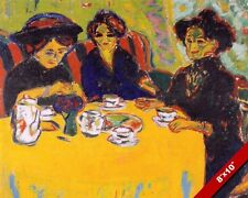 3 WOMEN DRINKING COFFEE TEA AT A TABLE KIRCHERN PAINTING ART REAL CANVAS PRINT