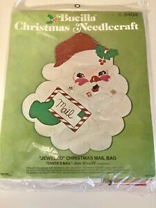 Vintage Jumbo Bucilla Felt Xmas Jeweled Santa's Mail Bag 18x23  Kit NIP Sealed