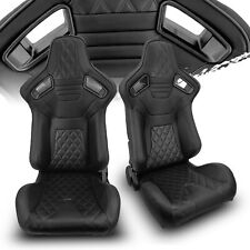Black Pvc Leatherblack Stitch Leftright Recaro Style Racing Seats Leftampright