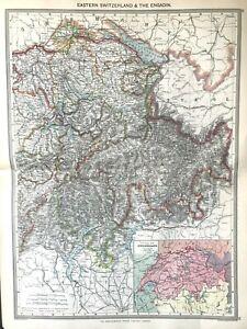 Map of EASTERN SWITZERLAND & EGADIN 1906 Original antique good detail