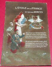 CPA GUERRE 14-18 CARTE PATRIOTIQUE JOFFRE ETOILE DE LA FRANCE SOLDATS MILITARIA