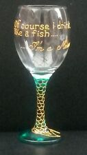 Funny Hand Painted  Mermaid  / Fish Wine Glass,.Birthday, Christmas Gift