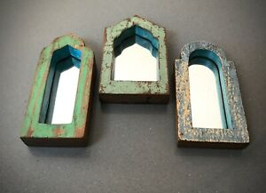 VINTAGE INDIAN MUGHAL ARCHED TEMPLE MIRRORS, THREE SMALL. SAGE, GREEN & BLUE.