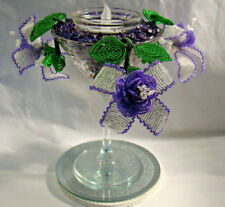 CRYSTAL & LILAC FUSCHIA TEA LIGHT HOLDER SET IN MARTINI GLASS (CUT)  PURPLE