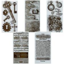 """Vintage """"Schlüssel, Noten, Taschenuhren"""" - Stempel - Clearstamp -   Set: 5 Bogen"""
