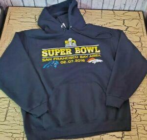 Jerzees Denver Broncos Black Pullover Hoodie Superbowl 50 Champions NFL Football