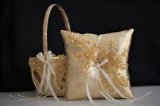 Lace Bearer Pillow Gold Wedding Flower Lace Ring Girl Basket Set