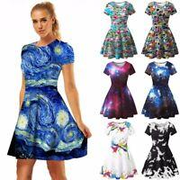 Fashion Women's Printed Pleated Dresses Ladies Summer Short Sleeve Knee Skirt