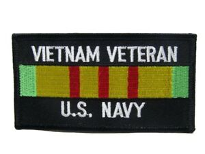 U.S. Military Vietnam Veteran Vet Navy Black Ribbon Flag Iron On Patch