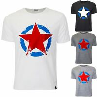Mens Branded Designer Star Printed Short Sleeve Crew Neck Casual Top Tee T Shirt