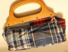 Summer HandBag Plaid Blue And Red Canvas With Wooden Handle