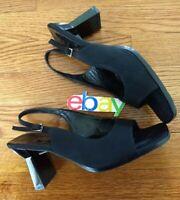 PALOMA Block Heel Open Toe Shoes Mule Ankle Strap Black ITALY Sz 7.5M EUC