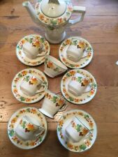 Vintage Grindley Art Deco Coffee Service for 6 Ivory Orange Green Yellow Tones