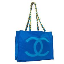 CHANEL CC Logos Jumbo XL Chain Shoulder Tote Bag Blue Nylon Vintage AK44763