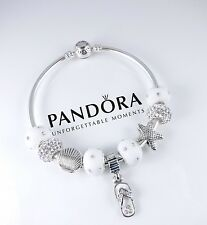 Authentic Pandora Bangle Beach Bracelet with White Sterling Silver Charms