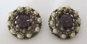 Vintage Amethyst Rhinestone/Faux Pearl Earrings