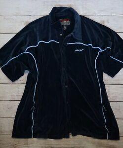 Vintage Fubu Sport Velour Blue Snap Up Sweat Shirt L Large Logo Embroidered
