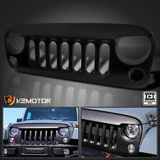 2007-2016 Jeep Wrangler JK Matte Black Angry Bird Style Front Bumper Hood Grille