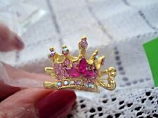 Hair Clip 2 Princess Crown Pink Rhinestones Motif Small Claw Clip Gold Tone NEW