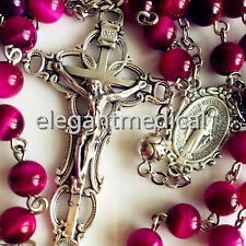 SILVER ROSE BEADS & RED TIGER EYE PRAYER ROSARY CROSS CRUCIFIX NECKLACE CATHOLIC