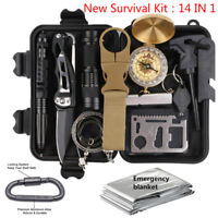 14 in 1 Outdoor Camping Survival Gear Kits SOS EDC Self Defense Emergency Kit