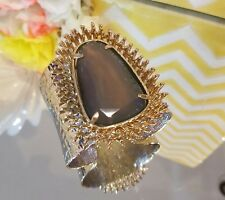 KS Extremely Rare Grey Agate Lande Cuff Bracelet In Gold.  HTF EUC