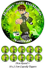 Personalised BEN 10 19cm Round PLUS 10 x 3.5cm Cupcake Edible WAFER Cake Toppers