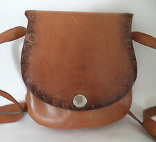 VINTAGE IN PELLE MARRONE Tooled Mini Borsa a Tracolla Shoulder Bag Borsa