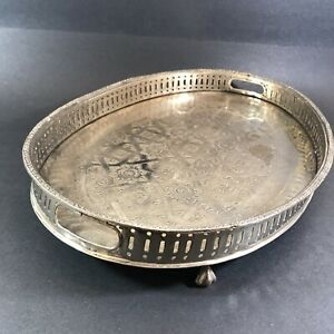 """Moroccan Silver Plate Etched Footed Tray Handles Server Hallmark Fes 16x11.5"""""""