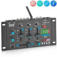 Pyle PMX8BU Professional 3-Channel Bluetooth DJ Mixer with Digital LED Display