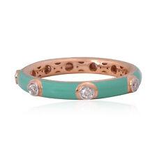 Turquoise Enamel Natural 0.25 Ct. HI/SI Diamond Band Fine Ring 18k Rose Gold