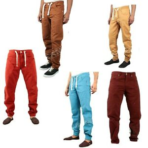 Mens Regular Fit Cuffed Chinos Jogger Drawstring Waist Designer Work Trousers