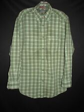 Orvis Trout Bum Green Plaid Pearl Snap York Fly Fishing Travel Men's Med MAR174