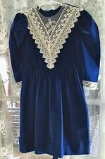 Little Girls Blue Velvet Dress With Embroidery By Eloise Size 5T.